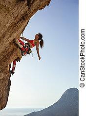 provocateur, parcours, haut, regarder, femme, varappeur