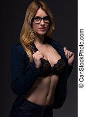 Provocative beauty businesswoman