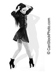 Provocative Brunette In Miniskirt - Provocative brunette...