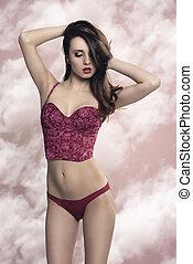 provocative girl in lingerie