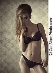 provocative woman in lingerie