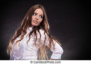 Provocative woman long hair.