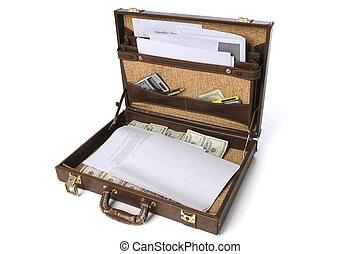 provviste, affari, cartella, contanti