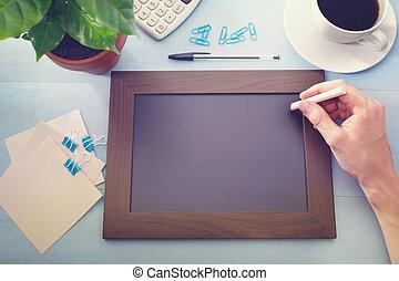 provviste, pianta, chalkboard verde, ufficio