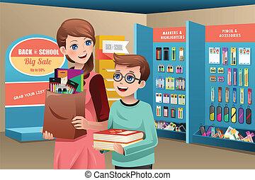 provviste, scuola, madre, acquisto, figlio