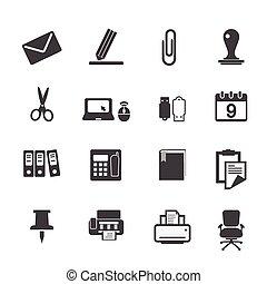 provviste, set, icone ufficio