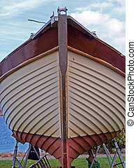 Prow of a wooden yacht boat - Details of the front part of a...