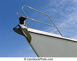 Prow of a yacht - Details of the front part of a prow of a ...