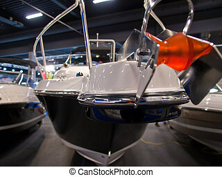 Prow of a yacht sailboat - Details of the front part of a ...