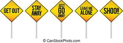 Proximity Warnings - Vector warning signs to keep distance.