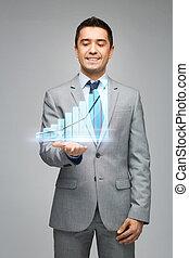 proyección, actuación, gráfico, virtual, hombre de negocios...