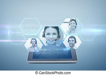 proyección, computadora personal tableta, computadora, vídeo...