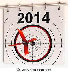 proyección, medios, meta, futuro, 2014, blanco