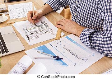 proyecto, arquitecto, joven, dibujo