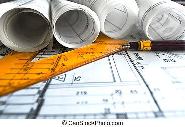 proyecto, arquitecto, rollos, planes