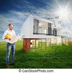 proyecto, casa, día soleado