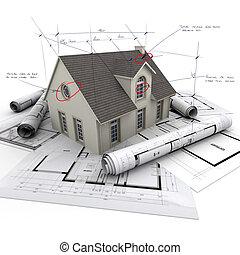 proyecto, casa, técnico, detalles
