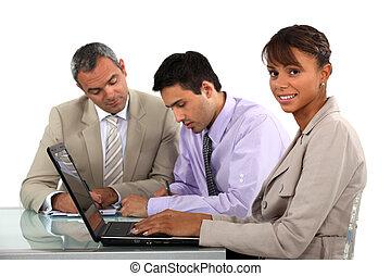 proyecto, colegas, juntos, trabajando