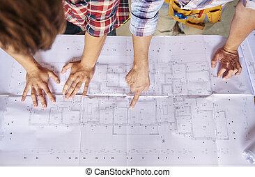 proyecto, de, edificio, en, el, principal, plan