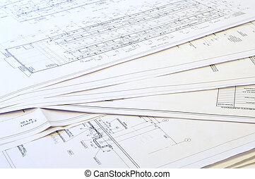 proyecto, drawings., diseño