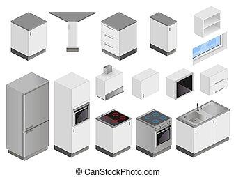 proyecto, equipo, isométrico, cajas, cocina