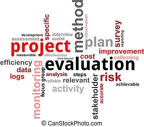 proyecto, evaluación, -, nube, palabra
