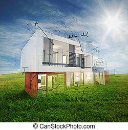 proyecto, hogar, día soleado