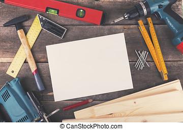 proyecto, hoja, de madera, carpintería, blanco, tabla, herramientas