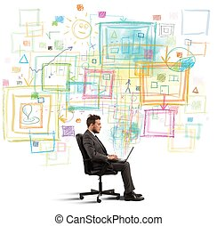 proyecto, hombre de negocios, creativo