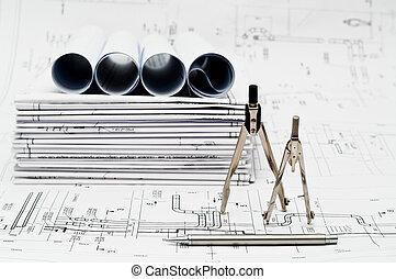 proyecto, papel, dibujos