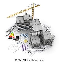 proyecto, perspectiva general, construcción