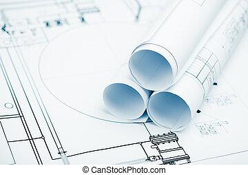 proyecto, planos, plan, plano de fondo, rollos