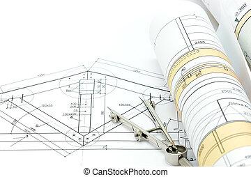 proyecto, técnico, construcción, compás, plan, dibujo