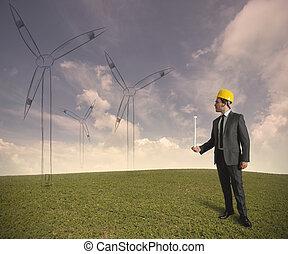 proyecto, turbina, energía, viento