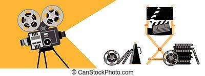 proyector, cine, película, retro, tira, bandera, película