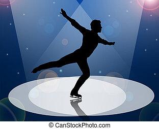 proyector, hombre, figura patinador