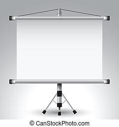 proyector, rodillo, pantalla