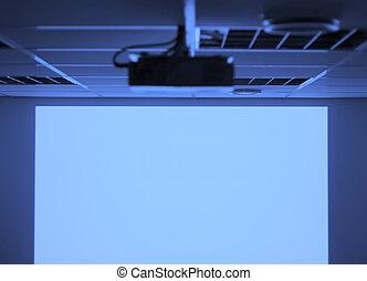 proyector, y, pantalla en blanco