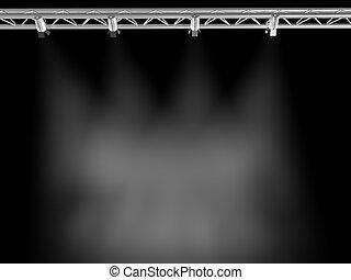 proyectores, brillar, en, un, grungy, piso, en un cuarto