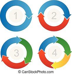prozess, fließen, pfeile, vektor, info-graphic, gebogen