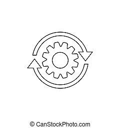 prozess, freigestellt, pfeile, style., vektor, zahnrad- rad, zahn, illustration geschäft, linie, wohnung, hintergrund., workflow, ikone, weißes
