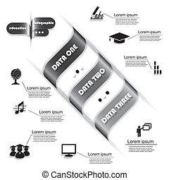 prozess, modern, infographic, design, schablone, bildung