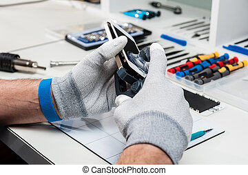 prozess, reparatur, handy