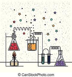 prozess, szene, chemische , versuch, hintergrund, funkeln, laboratorium, weißes