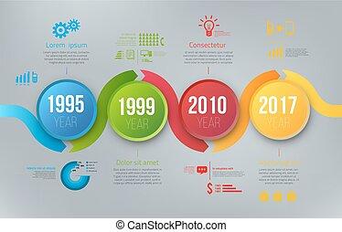 prozess, tabellen, mit, schritte, infographics