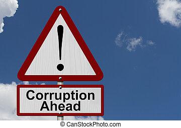 prudence, corruption, devant, signe