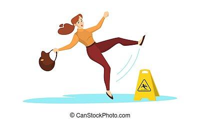 prudence, mouillé, femme, signe, tomber, avertissement, floor.