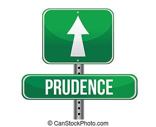 prudence road sign illustration design over a white background