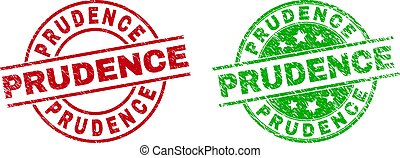 Round PRUDENCE stamp badges. Flat vector distress badges with PRUDENCE caption inside circle and lines, using red and green colors. Stamp imprints with unclean surface.