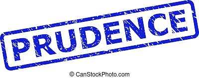 Blue PRUDENCE stamp seal on a white background. Flat vector grunge seal with PRUDENCE text is inside rounded rect frame. Imprint with scratched style.